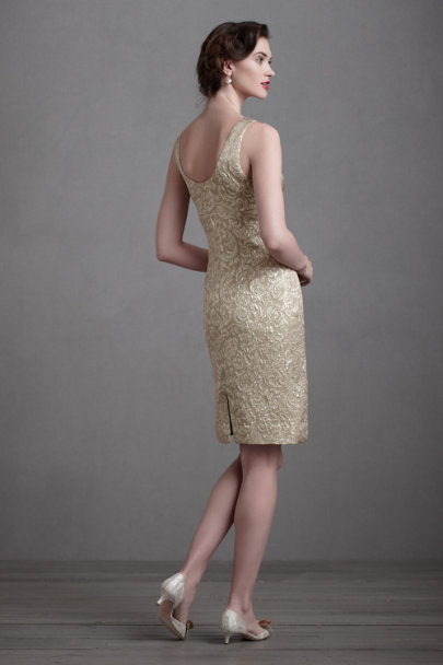 James Coviello Gold Gilt-Edged Sheath | BHLDN