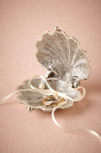 silver Silvery Seashell Ring Holder | BHLDN