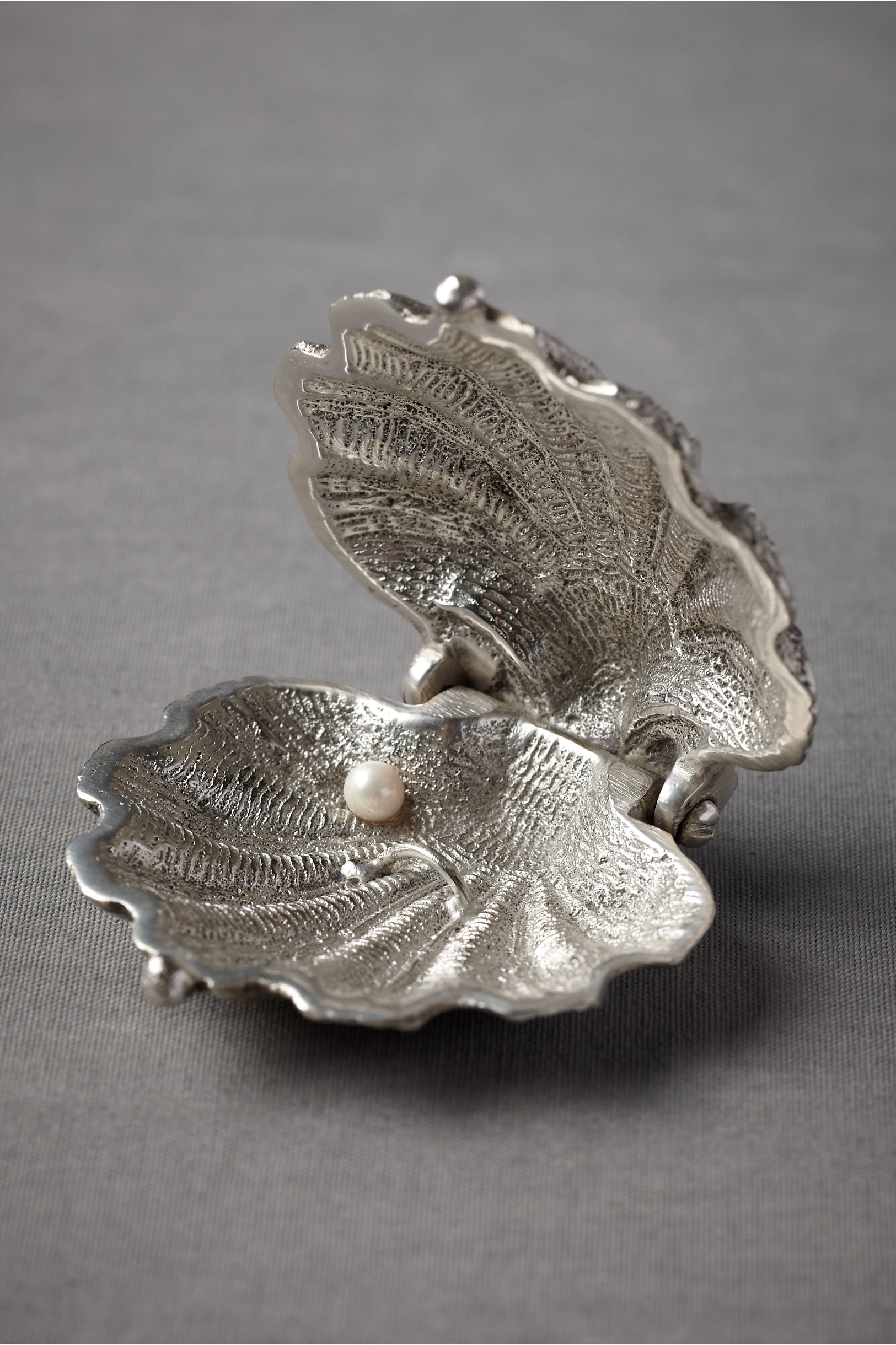 silvery seashell ring holder wedding ring holder silver Silvery Seashell Ring Holder BHLDN
