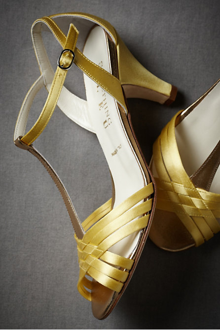 Criss-Cross T-straps in  SHOP Attire Shoes at BHLDN :  midheel leather soles heels something blue