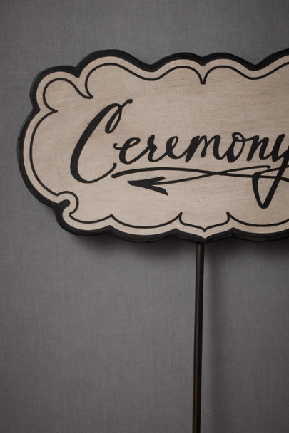 black & cream This-Way-To-The-Ceremony Sign | BHLDN