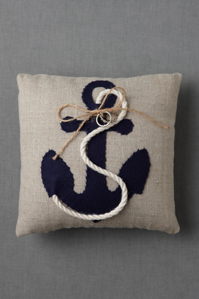 natural & navy Moored Devotion Ring Pillow | BHLDN