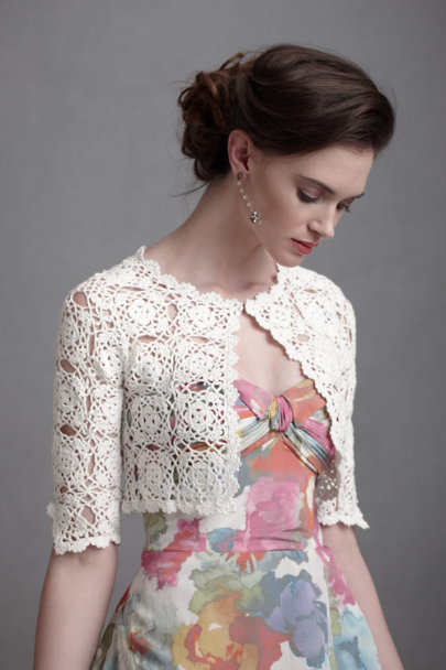 Ivory Interlocked Medallions Bolero | BHLDN