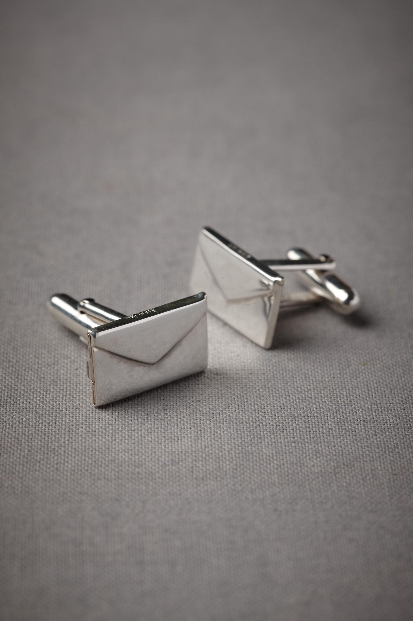 silver love letter cufflinks bhldn