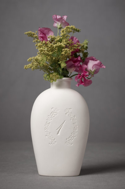 White Inscribed Numeral Vases | BHLDN