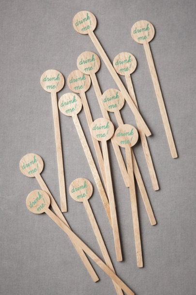 natural & mint green Drink Me Drink Stirrers (12) | BHLDN