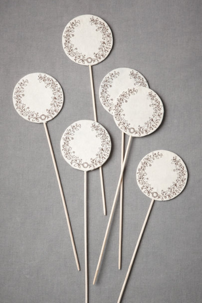 black & ivory Festooned Decorative Picks (10) | BHLDN