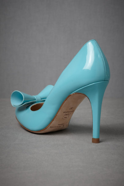 Aqua Covert Manuscript Heels | BHLDN