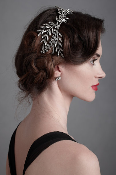 Crystal Gunmetal Faceted Fronds Headband | BHLDN