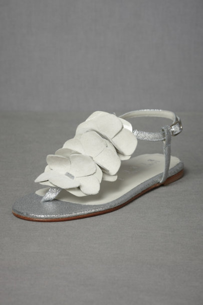 silver/ivory Silvered Lei Sandals | BHLDN
