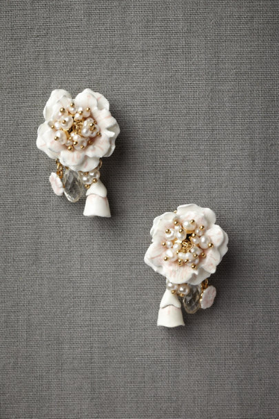 Les Néréides ivory Les Temps de Fleur Earrings | BHLDN