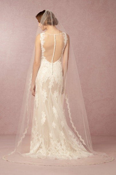 Debra Moreland Ivory Scalloped Cathedral Veil | BHLDN