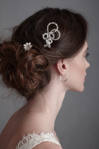 White Abstracted Lace Hair Pins | BHLDN