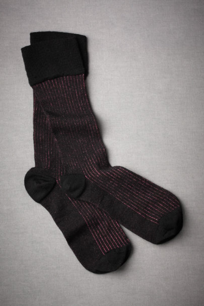 Black with Pink Stripes Stella Socks | BHLDN