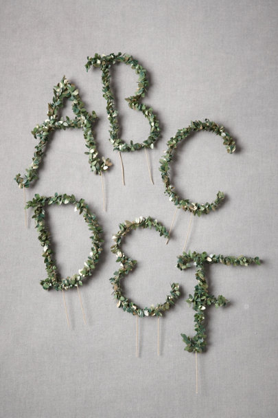 Green Leafy Monogram Cake Toppers | BHLDN