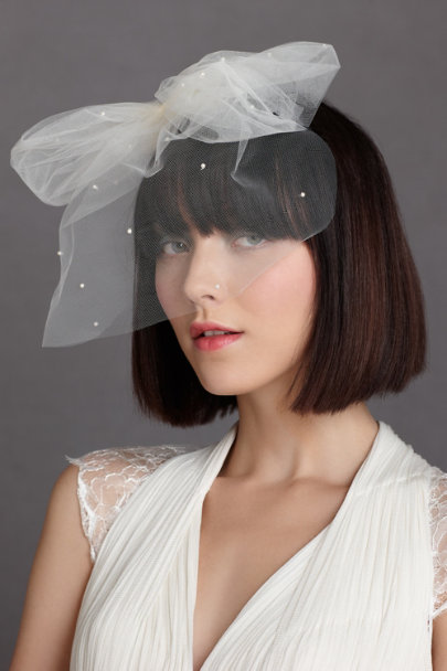 ivory Weightless Birdcage Veil | BHLDN
