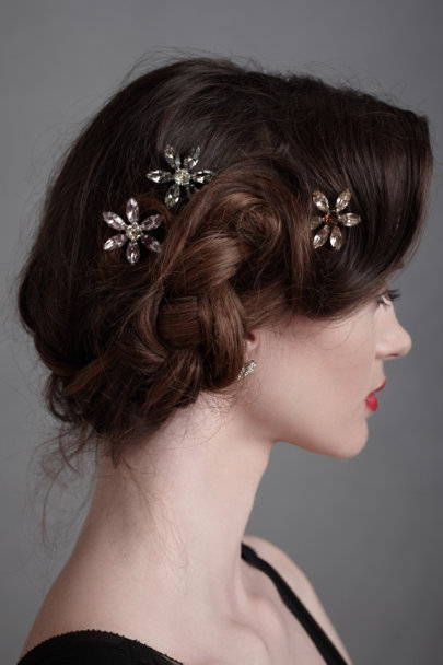Silver Rainforest Flora Hairpins | BHLDN