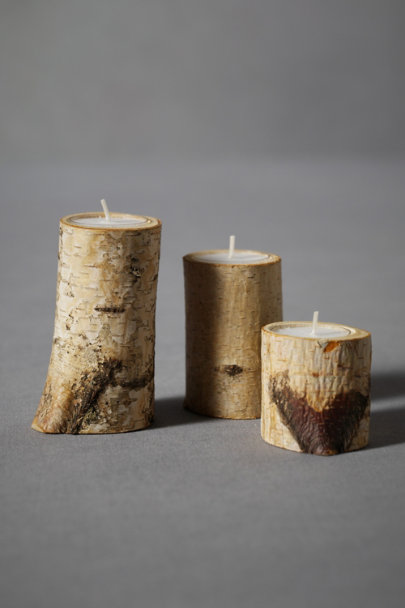 Natural Birch & Spade Tealight Holders (3) | BHLDN