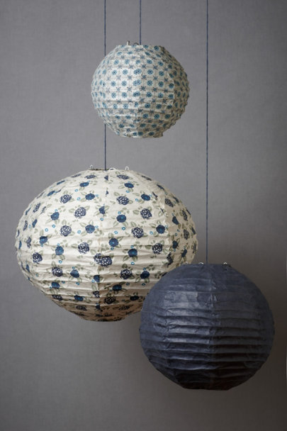 Blue Motif Patterned Collage Globes (3) | BHLDN