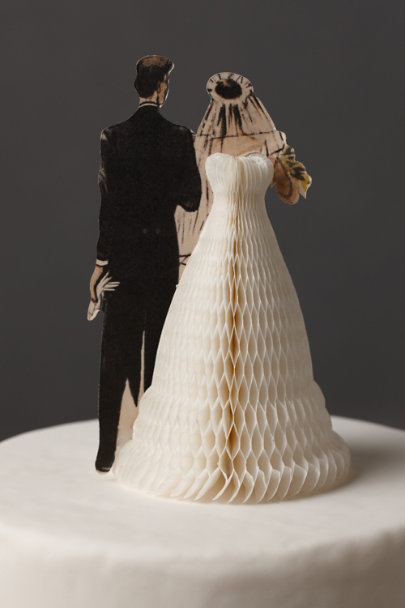 black & ivory Pair of Swells Cake Topper | BHLDN