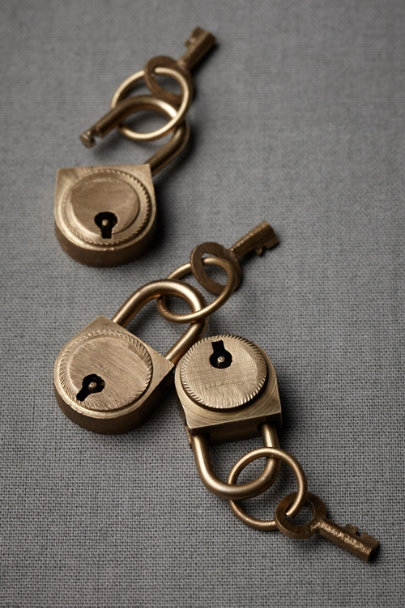 Mini lock and key sets 5 in d cor gifts bhldn for Lock and key decor