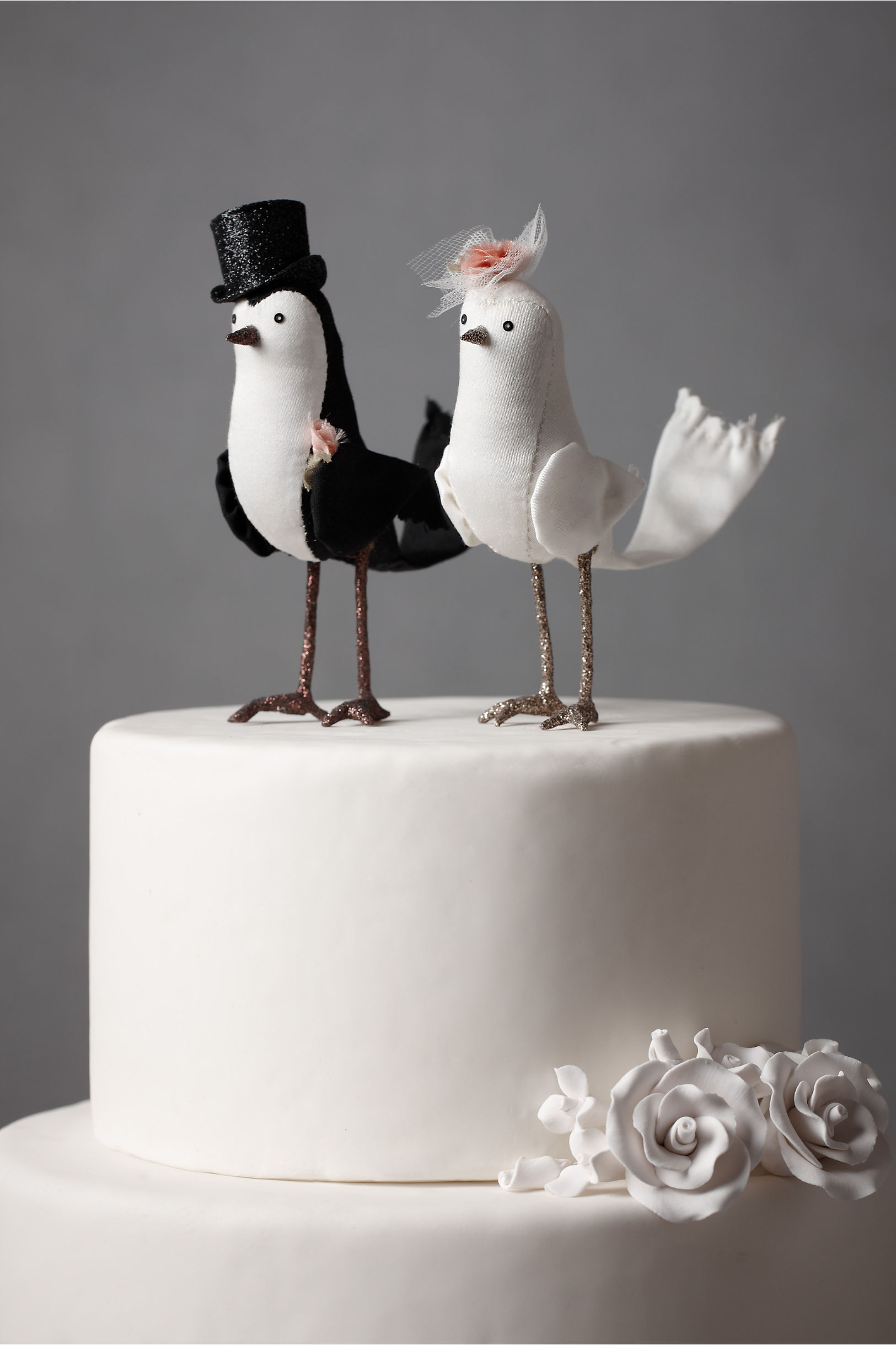 Wedding cake ornaments - Black White Perfect Pair Cake Topper Bhldn