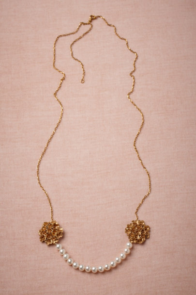 La Lueur de L'Aube gold Twin Bouquets Necklace | BHLDN