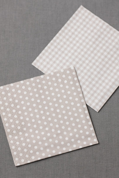 dove grey Gingham Cocktail Napkins (20) | BHLDN