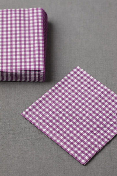 plum Gingham Cocktail Napkins (20) | BHLDN