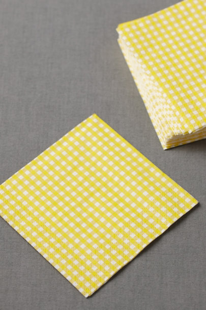 yellow Gingham Cocktail Napkins (20) | BHLDN