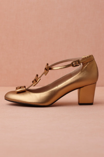 gold Triple-Tied T-Straps | BHLDN