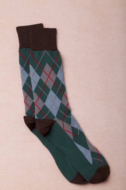 green motif Argyle Dress Socks | BHLDN