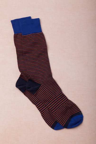 orange motif Striped Dress Socks | BHLDN