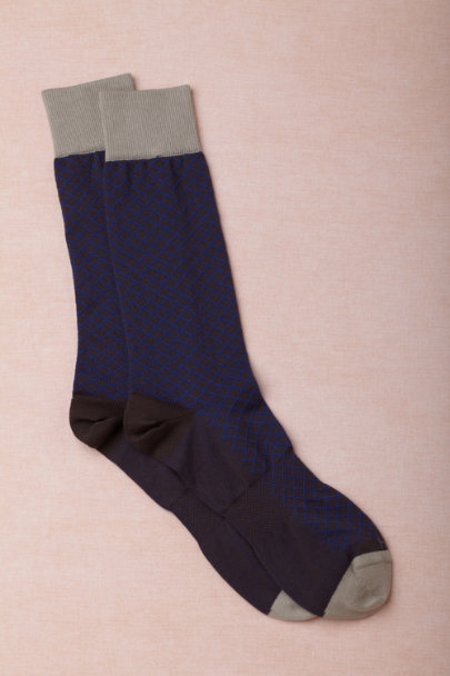 blue motif Cross Hatch Dress Socks | BHLDN