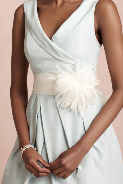 white Plumage Pom Sash | BHLDN