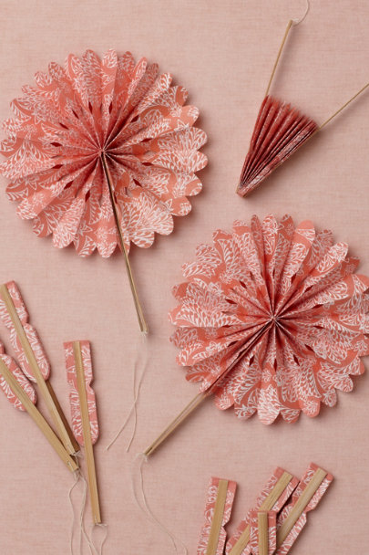 coral Crinkle Fans (10) | BHLDN