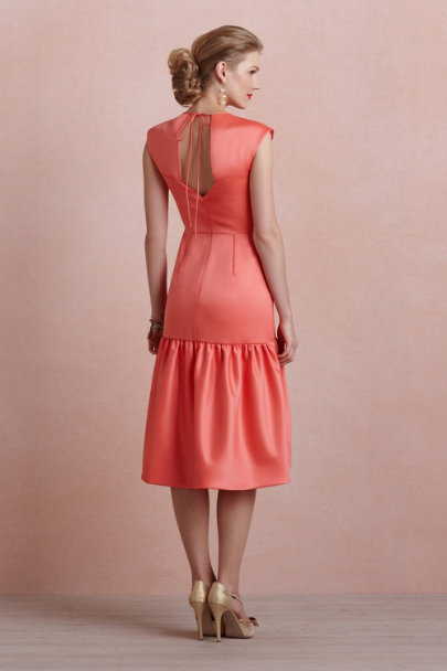 Katie Ermilio coral Coral Flounce Dress | BHLDN