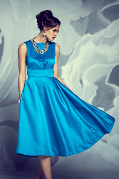 Katie Ermilio TURQUOISE Syncopated Swing Dress | BHLDN