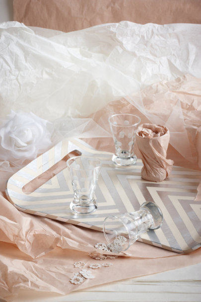 silver Silvery Chevron Tray | BHLDN