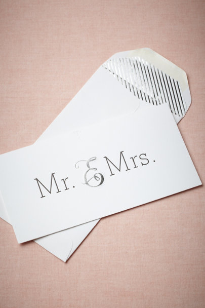 Sugar Paper silver Mr. & Mrs. Card | BHLDN