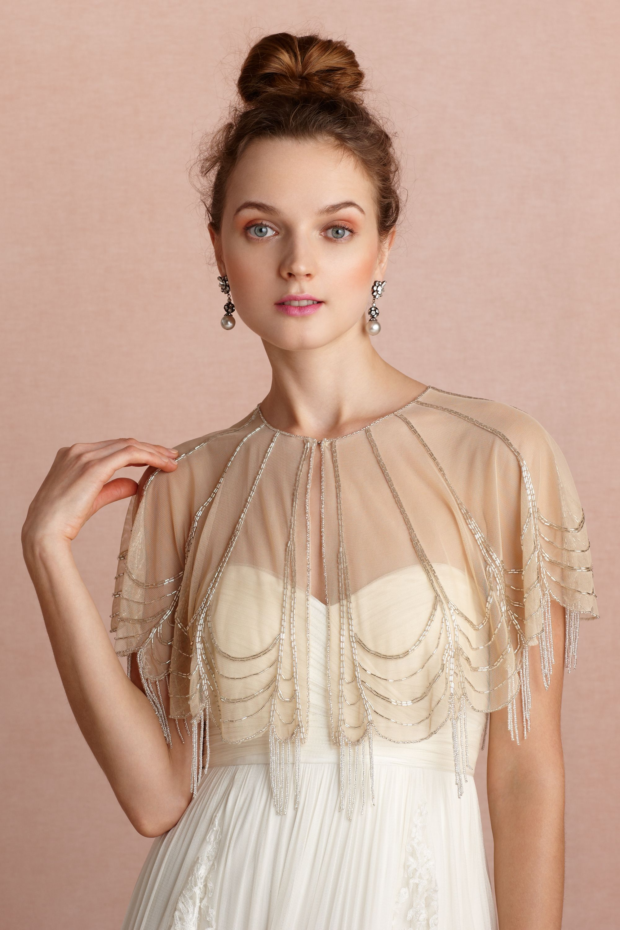 Bhldn trickling capelet customer reviews product for Cover up wedding dress
