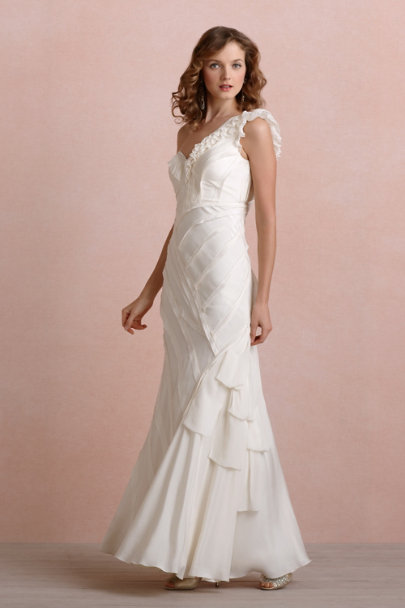 Buttercream Ribboned Silk Gown | BHLDN