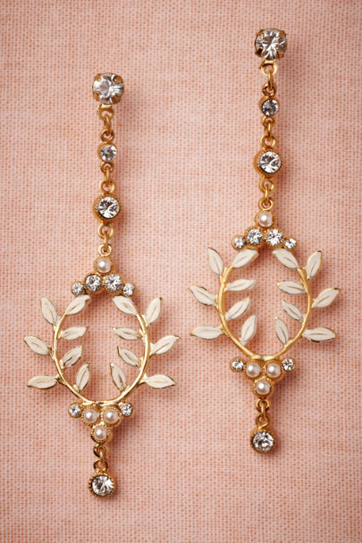 Debra Moreland gold Frosted Laurel Earrings | BHLDN