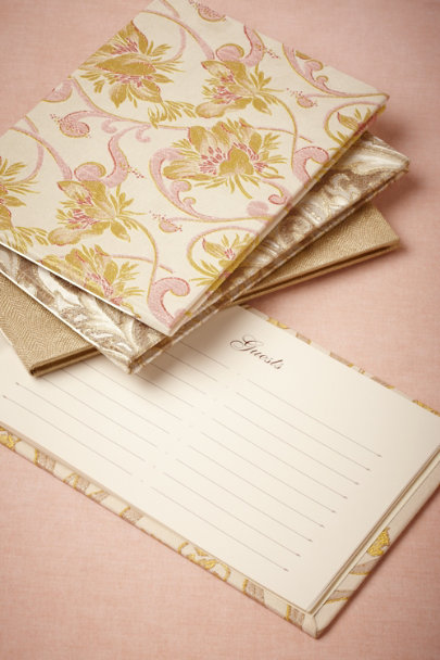 pink/citron Art Nouveau Guest Books | BHLDN