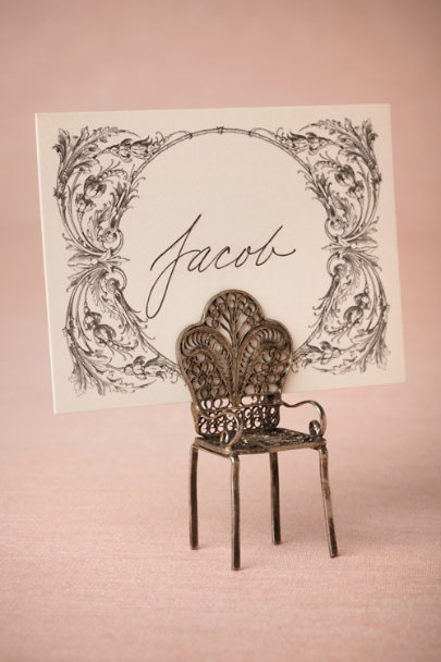 charcoal Filigree Place Cards (12) | BHLDN