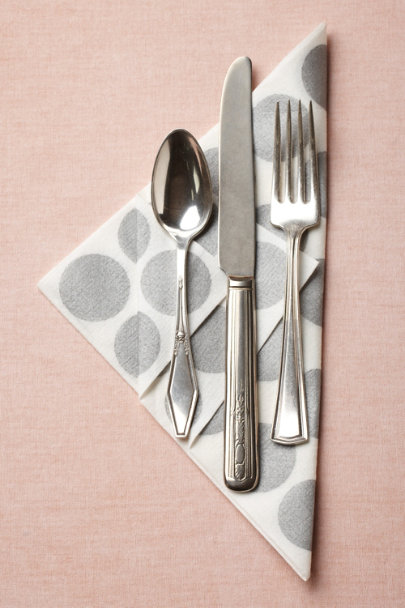silver Circles-Meet-A-Square Napkins, Dinner (20) | BHLDN