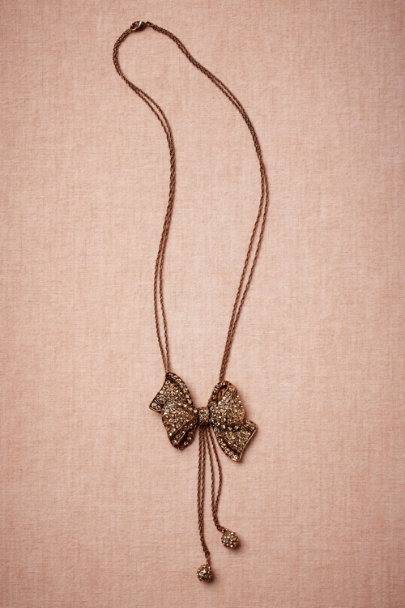 Azaara BRONZE Black Tie Necklace | BHLDN