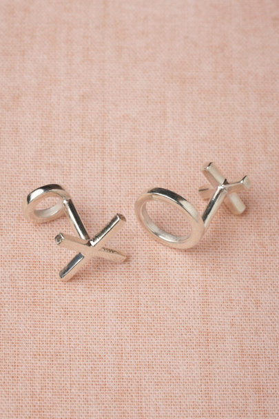 silver X and O Cufflinks | BHLDN