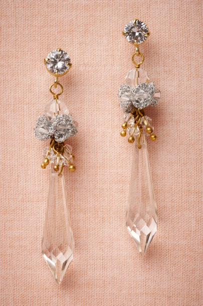 St. Erasmus crystal Snowmelt Earrings | BHLDN