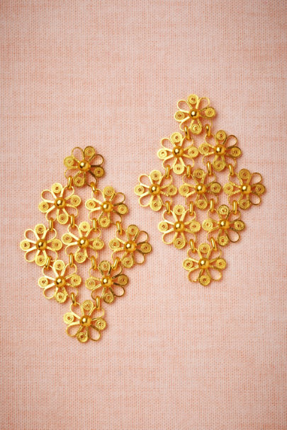 gold Daisy Chain Earrings | BHLDN
